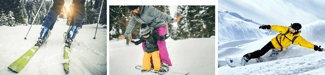 Adult downhill skiing; mom teaching daughter to snowboard; man snowboarding; all on a financed ski trip