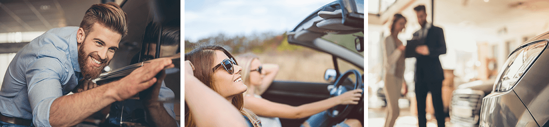 Young man, young women, single young woman enjoy the new cars they bought with car loans.