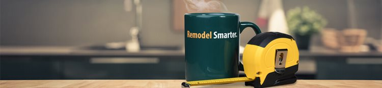 "Kitchen remodeled with a home improvement loan, tape measure and mug with ""Remodel Smarter"" on it"