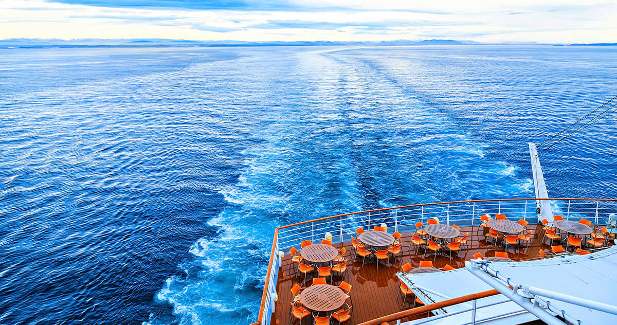 View from back deck of cruise ship