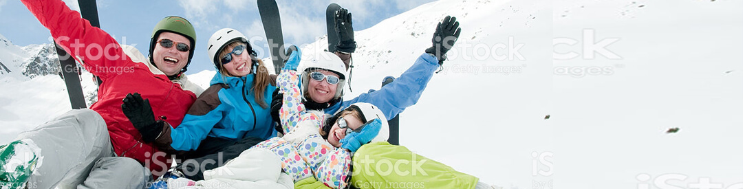 Family on ski vacation financed with Vacation Loans