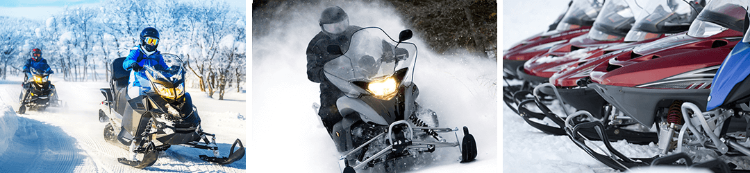 Snowmobile riders out on the trails, and snowmobiles available for financing