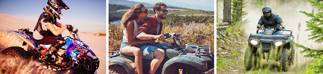 Pictures of people riding ATVs and 4-wheeler secured with recreational loans